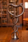 A wooden caduceus symbol shown in NYAM rare book reading room