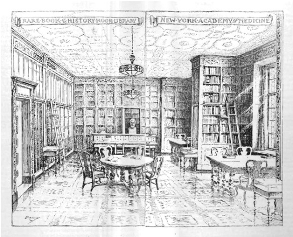 Pen sketch of the Rare Book Room