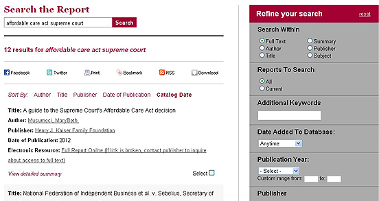 "Screenshot of search for ""affordable care act supreme court"" in the Grey Literature database"