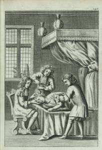 Image shows trepanning operation