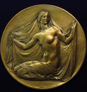 Round medal with female figure, for New York Academy of Medicine.