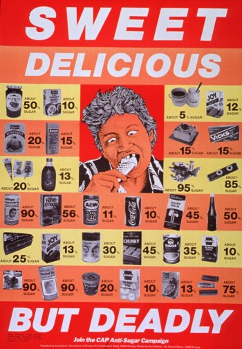 "Poster with text ""Sweet delicious but deadly"" and image of man eating ice cream cone surrounded by different foods containing sugar."