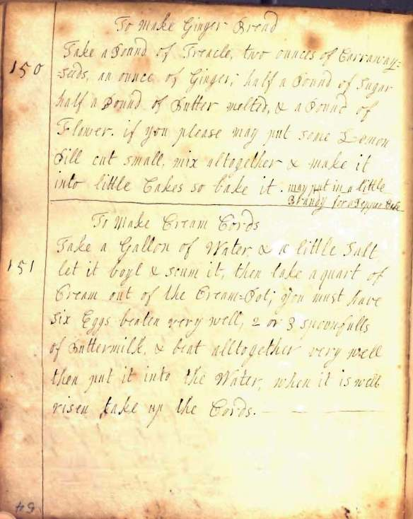 Recipe book England 18th century.