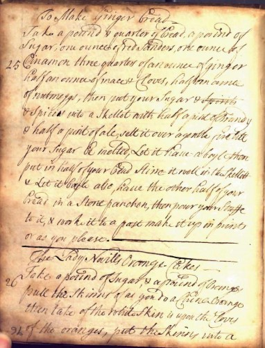 Eighteenth-century recipe book, England.