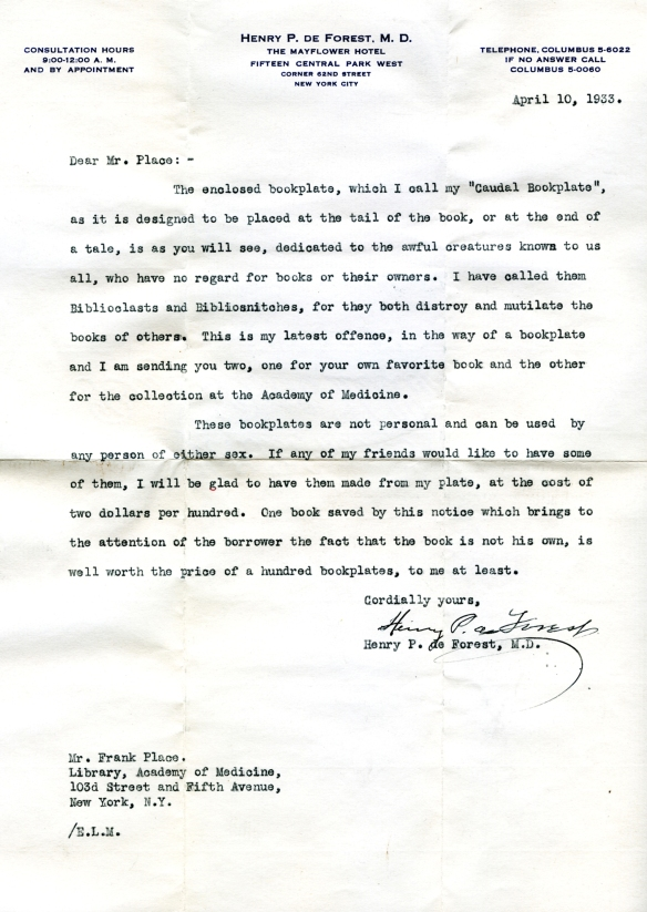 Letter from Henry Pelouze de Forest to NYAM librarian Frank Place.