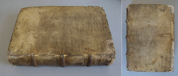 An example of a stiff-boards parchment binding with a slotted spine from the NYAM collection: Trincavello, De differentiis febrium, Venice, 1585. Left: Back cover and spine. Right: Front cover.