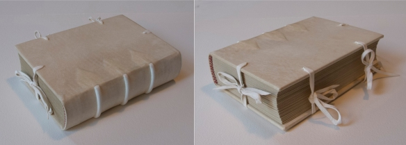 Finished model, complete with ties on fore-edge, head, and tail.