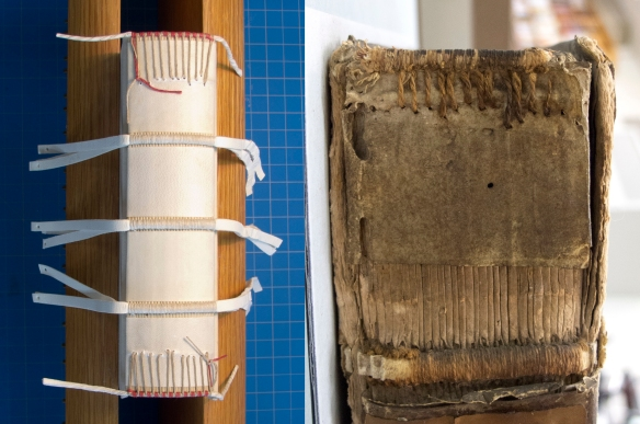 Left: The text block is rounded and backed and the spine is lined with parchment. Endbands are sewn through the spine lining on twisted alum-tawed skin supports.