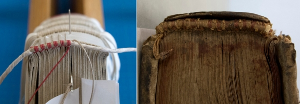 Left: Endbands seen from above. Right: Galen (1556) detail of the front bead endband sewn in red and white thread.