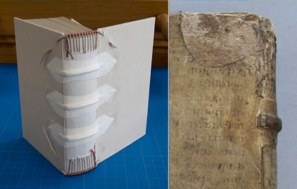 "Left: The sewing supports are laced into the boards and then covered in alum-tawed skin patches. The endband cores are also laced into the boards. Right: Trincavello (1585), detail showing the ""arrow-point"" shaping of the alum-tawed skin patch underneath the parchment and the endband core that has been laced through the board and trimmed off flush with the board."
