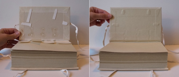 After the parchment cover is adhered, ties are laced through the boards at the fore-edge, head and tail. The parchment spine linings are adhered to the interior face of the board and the endsheet is pasted down.