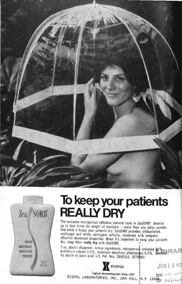 1973: Nothing like nudity to convince doctors to recommend a medicated powder.