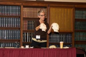 Sigrid Sarda gives a medical wax moulage demonstration.