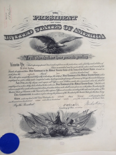 Certificate signed by Woodrow Wilson.