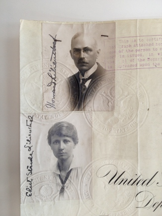 Photographs of Howard and Edith Lilienthal attached to a certificate