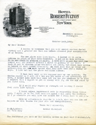 An 1893 letter from President Cleveland to his dentist, Dr. K.C. Gibson.