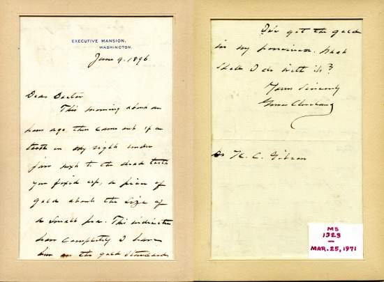 An 1896 letter from President Cleveland to his dentist, Dr. K.C. Gibson.