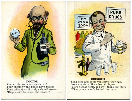 Our doctor and druggist valentine postcards. Click to enlarge.