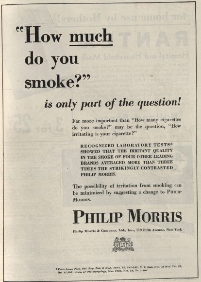 """How much do you smoke?"" Published in JAMA, volume 12, number 11, March 11, 1944. Click to enlarge."