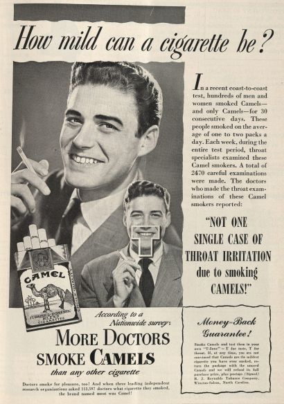 """How mild can a cigarette be?"" Published in the New England Journal of Medicine, volume 240, number 17, April 28, 1949. Click to enlarge."