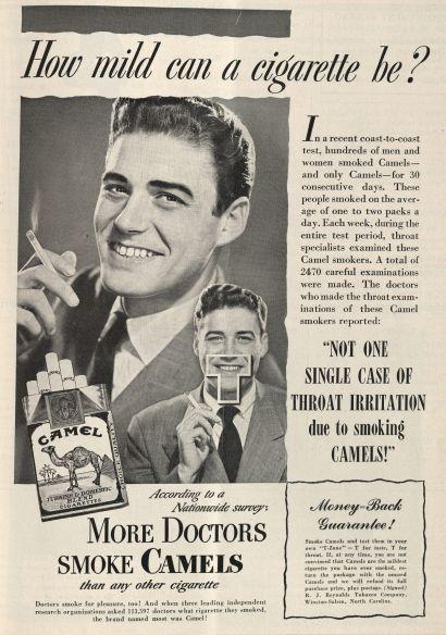 """""""¿Cómo puede ser leve un cigarrillo?""""  Publicado en la revista New England Journal of Medicine, volumen 240, número 17, de 28 de abril de 1949. Haga click para ampliar."""
