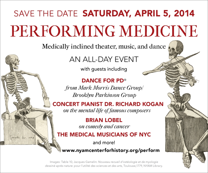 Save The Date details for Performing Medicine Festival