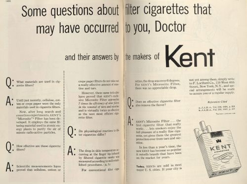 """Some questions about filter cigarettes that may have occurred to you, Doctor."" Published in the New York State Journal of Medicine, volume 53, number 12, June 15, 1953."