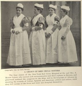 """""""A Group of Red Cross Sisters."""" Photo taken by Barton and published in The Red Cross in Peace and War. Click to enlarge."""