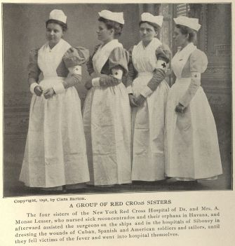 """A Group of Red Cross Sisters."" Photo taken by Barton and published in The Red Cross in Peace and War. Click to enlarge."