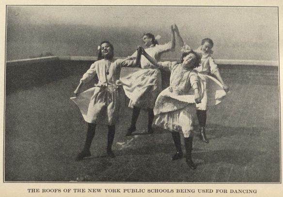 """The roofs of the New York Public Schools being used for dance,"" a photograph from The Healthful Art of Dancing. Click to enlarge."