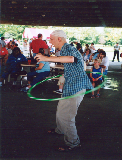 Brian Lobel at the hula hoop contest.