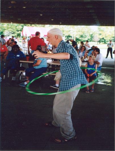 Brian Lobel at the hula hoop contest.