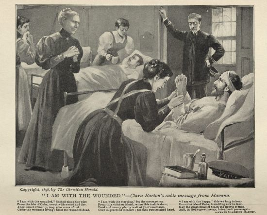 """I am with the Wounded."" Originally printed in The Christian Herald and reprinted in The Red Cross at  in Peace and War. Click to enlarge."