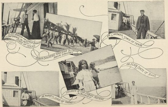 A photo montage of Barton's return to Cuba and time on the ship The State of Texas. From The Red Cross in Peace nad War. Click to enlarge.