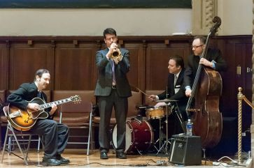 Dr. Daniel Caplivski, center, and medical musicians from Mount Sinai. Photo: Charles Manley.