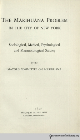 The title page of The Marihuana Problem in the City of New York.