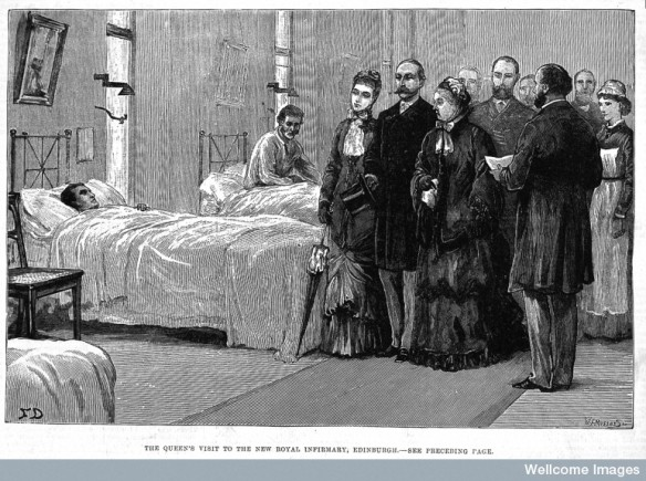 Queen Victoria visiting the Royal Infirmary Edinburgh (1881). This Infirmary building opened shortly after Henley's stay at the hospital. Courtesy of the Wellcome Library, London.
