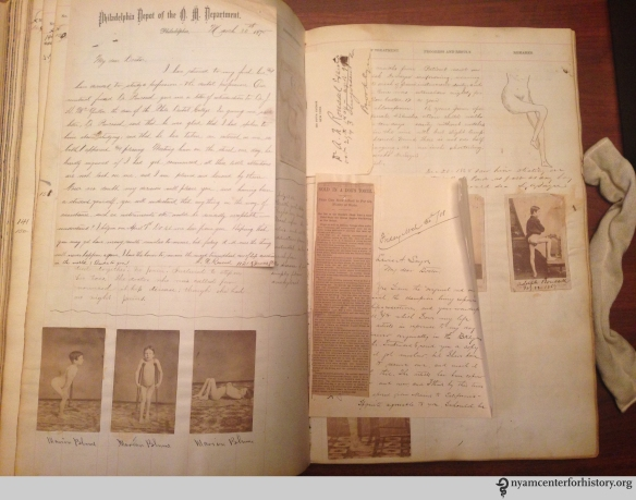 Louis A. Sayre Personal Casebook with multiple photographs, drawings, and ephemera of his patient, Aldoph Roussell ca. 1867