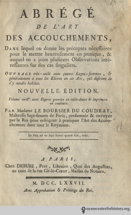 The title page of Abrégé de l'art de l'accouchmens.