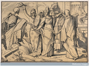 The dance of death: Death emerges from the ground and is greeted by a group of allegorical women, symbolizing the vices. Woodcut after Alfred Rethel, 1848. Credit: Wellcome Library, London