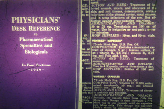 The title page and an entry in from the 1949 Physician's Desk Reference.