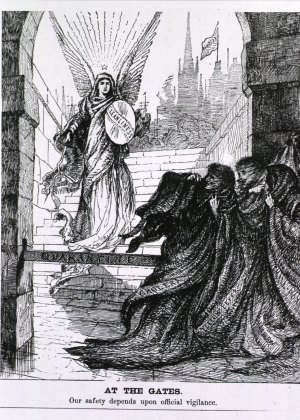 "The specters of cholera, yellow fever, and smallpox recoil in fear as their way through the Port of New York is blocked by a barrier on which is written ""quarantine"" and by an angel holding a sword and shield on which is written ""cleanliness."" Courtesy of the National Library of Medicine."