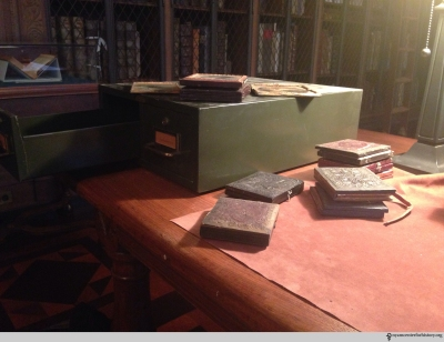 "The small green metal box, simply labeled ""daguerreotypes."" Photo by Heidi Knoblauch."