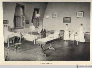 """""""Male Ward E"""" at Hahnemann Hospital, from the Hospital's May 1901 Report."""