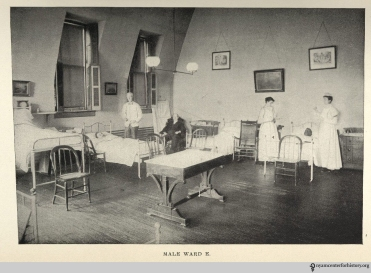 """Male Ward E"" at Hahnemann Hospital, from the Hospital's May 1901 Report."