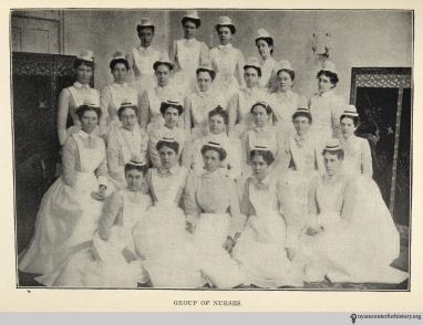 A group of nurses from the May 1901 Hahnemann Hospital report.