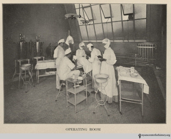 A Hahnemann Hospital operating room, from its May 1906 report. Click to enlarge.