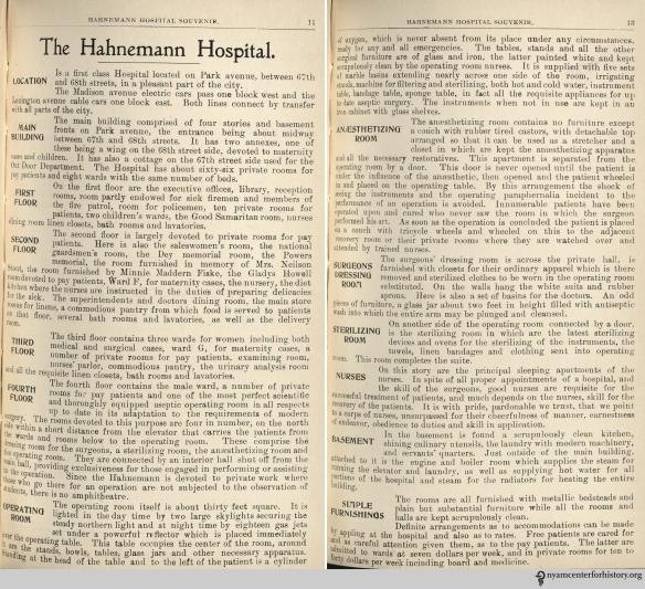 Descriptions of Hahnemann Hospital rooms, from the hospital's 1900 Souvenir.
