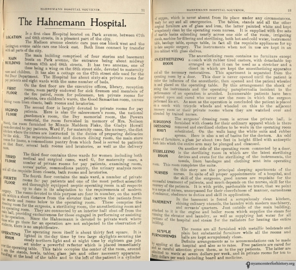 Descriptions of Hahnemann Hospital rooms, from the hospital's 1900 Souvenir.