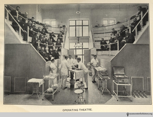 Presbyterian Hospital's operating theater, an image from its 1901 annual report. Click to enlarge.